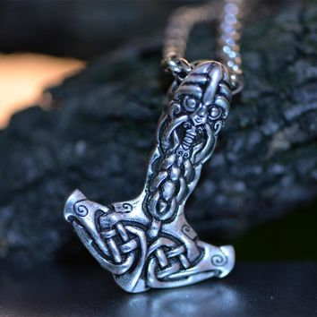 1pcs Langhong Vikings Necklace Thor's Hammer Amulet pendant Necklace Norse Jewelry Talisman