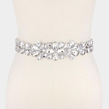 Large tear drop rhinestone wedding belt #wb6574