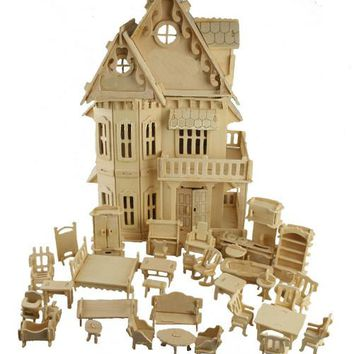BOHS Toy Gothic Dolls House Wooden Scale Models 3D Puzzle Educational 1 Sets=1*House + 34*pcs Furniture ,30*18*45CM