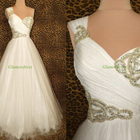 White tulle and satin prom dresses with sequins,floor length beaded gowns for holiday party,latest one shoulder homecoming dress hot.