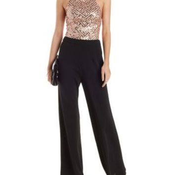 Strappy Sequined Jumpsuit with Lace-Up Back