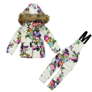 Winter Flowers Down Snow Coat and Overalls Suit