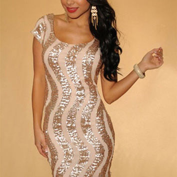 Gold Apricot Sequined Cap Sleeves Dress with Keyhole Back