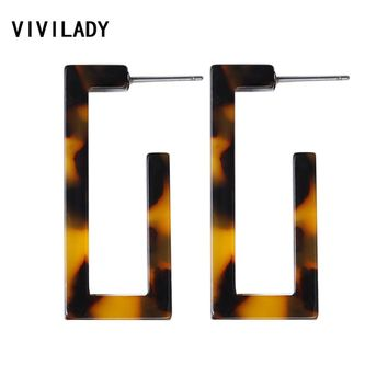 VIVILADY Fashion Geometric Square Hoop Earrings Women Candy Acrylic Acetic Acid Brincos Boho Leopard Bridal Jewelry Party Gifts