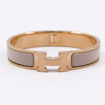 Authentic New Hermes Clic Clac H Narrow 0.5inch Wide Pm PM Beige Enamel Bracelet