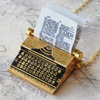 Typewriter Necklace - Gold plated Brass Miniature  Vintage Type Writer