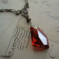 SORCERER'S STONE II - Wizard Inspired Philosopher's Stone Necklace Red Crystal Magma Swarovski Pendant Antiqued Brass Magical Elixer