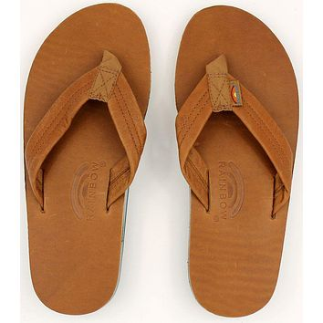 Men's Classic Leather Double Layer Arch Sandal in Tan with Blue by Rainbow Sandals