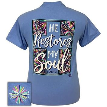 Girlie Girl Originals Preppy He Restores My Soul Cross T-Shirt