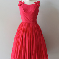 Heart of Hearts dress / silk chiffon 50s dress / vintage red 1950s dress