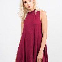 Mock Neck Flare Dress