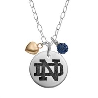 Fiora Crystal Sterling Silver Notre Dame Fighting Irish Team Logo & Heart Pendant Necklace (Green)