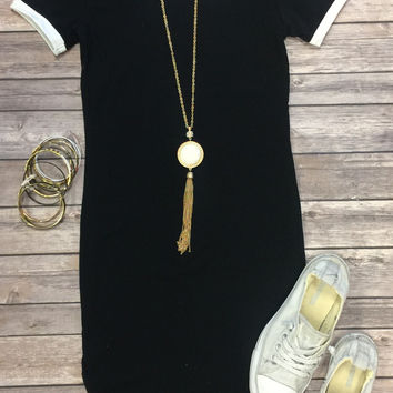 Game Changer Tunic Dress: Black