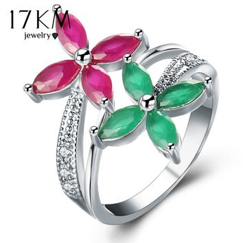 17KM Crystal Flower Rings For Women Engagement Jewelry Sliver Color Finger Ring Female Anillos Romantic Wedding Jewelry