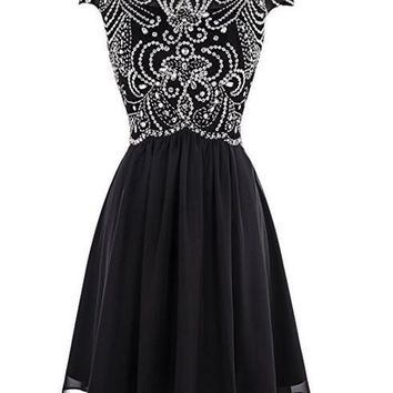 Ubridal Women Short Beading Homecoming Dress Chiffon Cocktail Prom Gowns Cap Sleeves