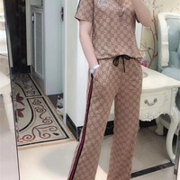 """Gucci"" Woman's Leisure  Fashion Letter Printing   Lattice Stripe Short Sleeve Trousers Two-Piece Set Casual Wear"
