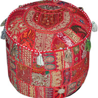 Red Bohemian pouf Ottoman Embroidered Footstool Decorative Tuffet bean bag banjara furniture Indian pouf foot stool chair cover pouffe