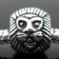 Lion King Authentic European Charm | Silver Toned African Safari Animal Gift Spacer Bead for Bracelet Necklace or Earrings