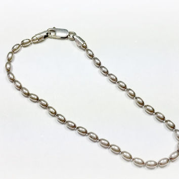 Elongated Ball Bearing Chain Sterling Silver Bracelet Chain Vintage 925 Italy FAS Unisex Great Look Chain for Guy or Gal