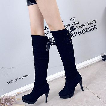 Back Lace Up Hollow Out Stiletto Heel Pointed Toe Over Knee Boots