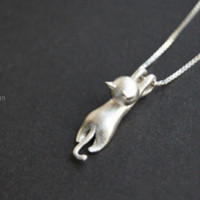 925 Sterling Silver cat necklace,Cute Stocky Cat Necklace,with sterling silver chain