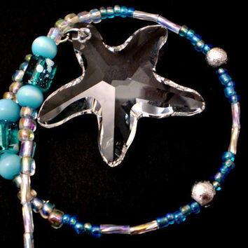 Crystal Starfish SunCatcher  Clear by justByou on Etsy