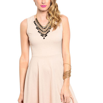 Textured Fit&Flare Cocktail Dress W/ Chest Cutout
