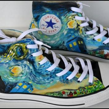 Painted DOCTOR WHO Shoes, Custom Painted Mens Converse, Doctor Who Converse, Custom Sn