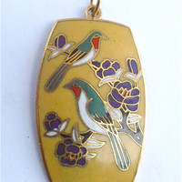 Vintage Yellow Cloisonne Pendant Green Bird Purple Flowers Pendant Yellow Enamel Necklace Bird Enamel Cloissonne Pendant Green Bird Pendant