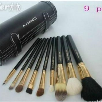 Bobbi Brown 9 brsuh Set leather pouch Makeup Brush