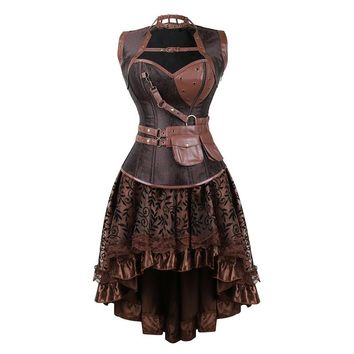 Sexy Women's Gothic Victorian Steampunk Corset Dress Vintage Overbust Corsets and Bustiers with Skirt Party Halloween costume