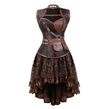 1444b42406 Sexy Women s Gothic Victorian Steampunk Corset Dress Vintage Overbust  Corsets and Bustiers with Skirt Party Halloween