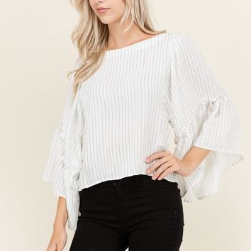 Wide Ruffle Sleeved Blouse