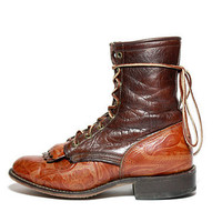 Two Toned TOOLED Leather Lace Up Roper Riding by jamesrowlandshop