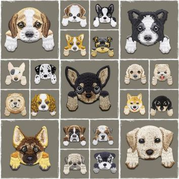 Embroidered puppy love dog patches badge bag fabric craft DIY Iron On Patch gift