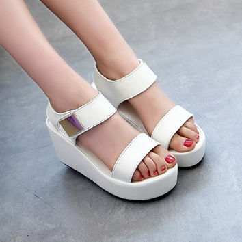 Women Wedges Sandals Fashion Casual Platform Sandals Metal