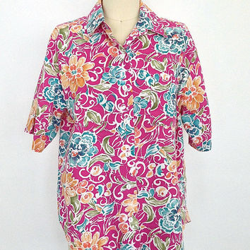 Vintage Pink Floral Shirt / Hawaiian Print Blouse / 1980s / Size Medium M Large L XL
