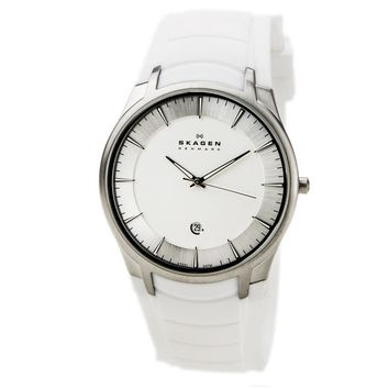 Skagen 955XLSRW Men's Denmark Silver Dial White Silicon Strap Quartz Watch