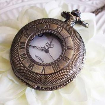 PW010 Romantic Bronze Pocket Watch Necklace by theMIX on Etsy