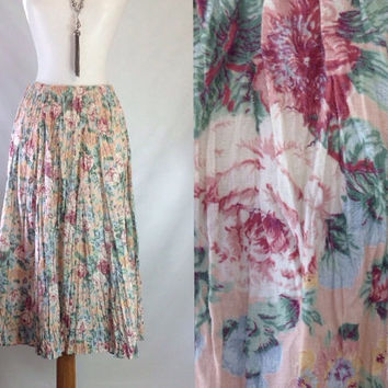 Vintage Cabbage Rose Skirt / Floral Full Skirt / Midi Maxi Skirt / Pink Broomstick Skirt / Floral Preppy Skirt / 1 One size  XS S M 24-32