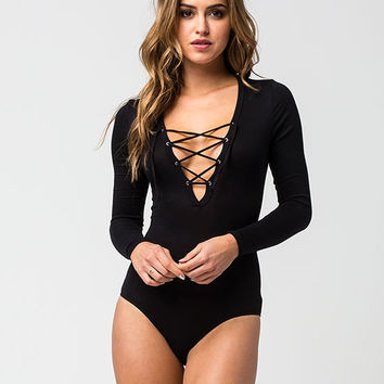 BETTER BE Lace Up Womens Bodysuit | Raglans & L/S Tees