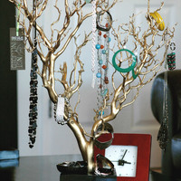 "30"" Gold Painted Jewelry Tree"