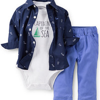 Carter's Baby Boys' 3-Piece Bodysuit, Shirt & Pants