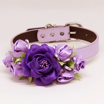 Purple Wedding Dog Collar, High Quality Rose Flowers, Pet Wedding Accessory, Handmade