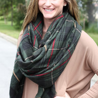 Blanket Scarf - Green Plaid