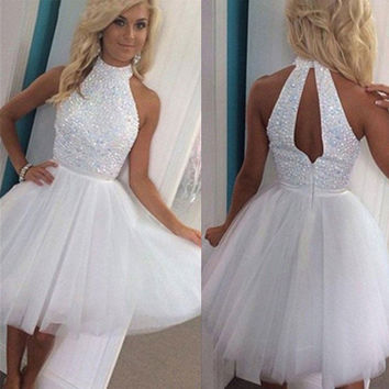 2016 Cute White Short Prom Cocktail Dresses Knee Length High Neck Juniors Sparkly Beaded Cocktail Party Dresses Robe De Cocktail