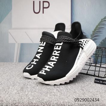 DCCK2 A407 Adidas Pharrell Williams Human Race NMD Knit Running Shoes Black White