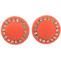 FINAL CLEARANCE Cantaloupe Clips - Vintage 1960s Orange Clip On Button Earrings Ringed with Rhinestones, Large Round Discs