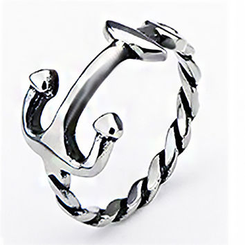 Anchor Me - Anchor and rope design silver stainless steel ring