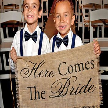 Here Comes The Bride Burlap Banner Sign - PR80520